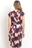 Abstract Adjustable Tie Wrap Maternity & Nursing Dress