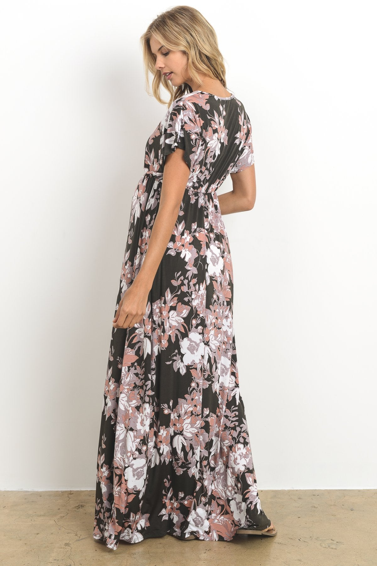 V-Neck Floral Elastic Waist Maternity Maxi Dress