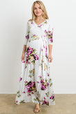 Floral Faux Wrap Maternity & Nursing Maxi Dress