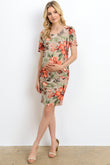 Floral Ruched Round Neck Maternity Dress