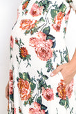 Casual Side Pocket Maternity Maxi Dress, Flowers
