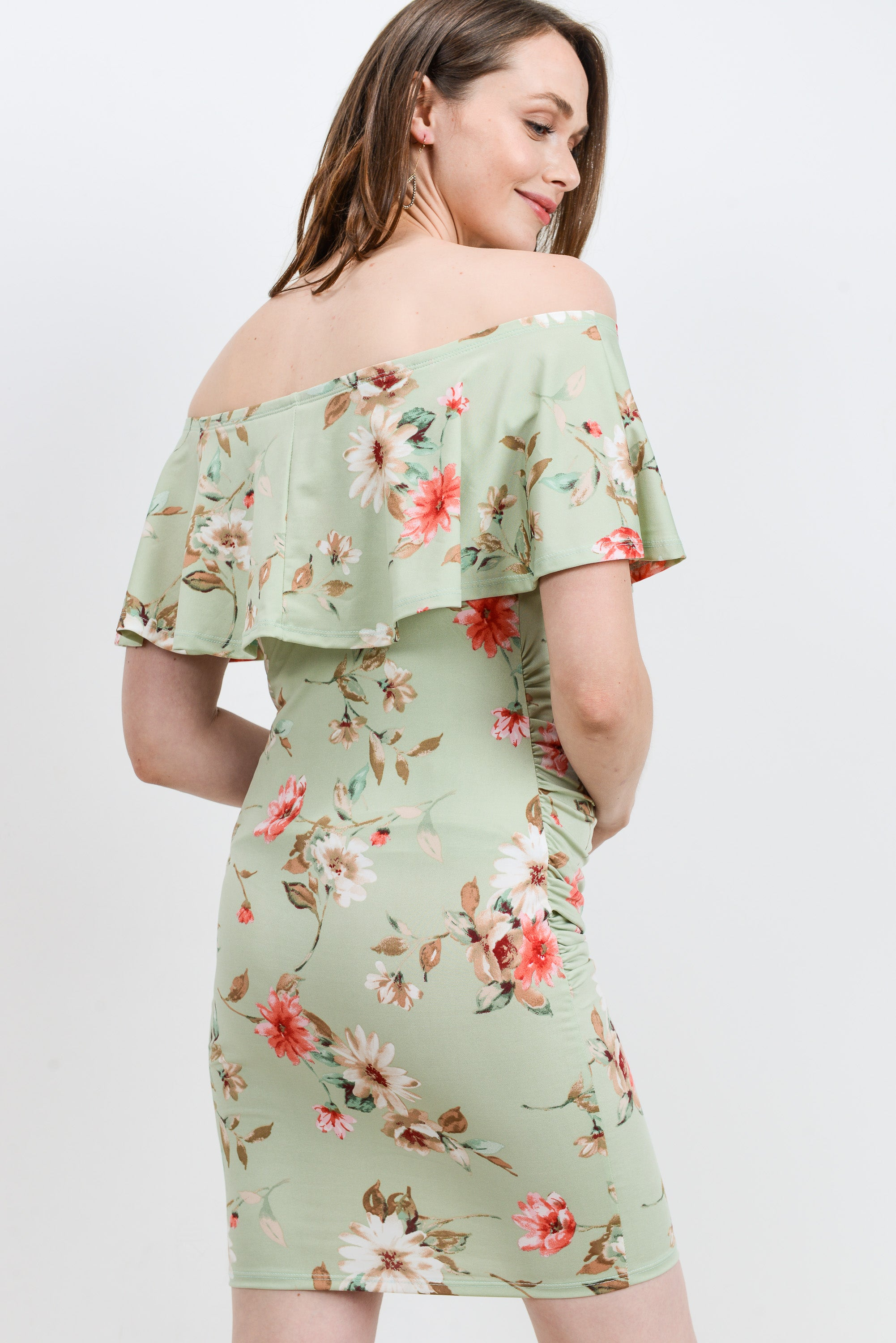 Sage Floral Off Shoulder Ruffle Maternity Dress