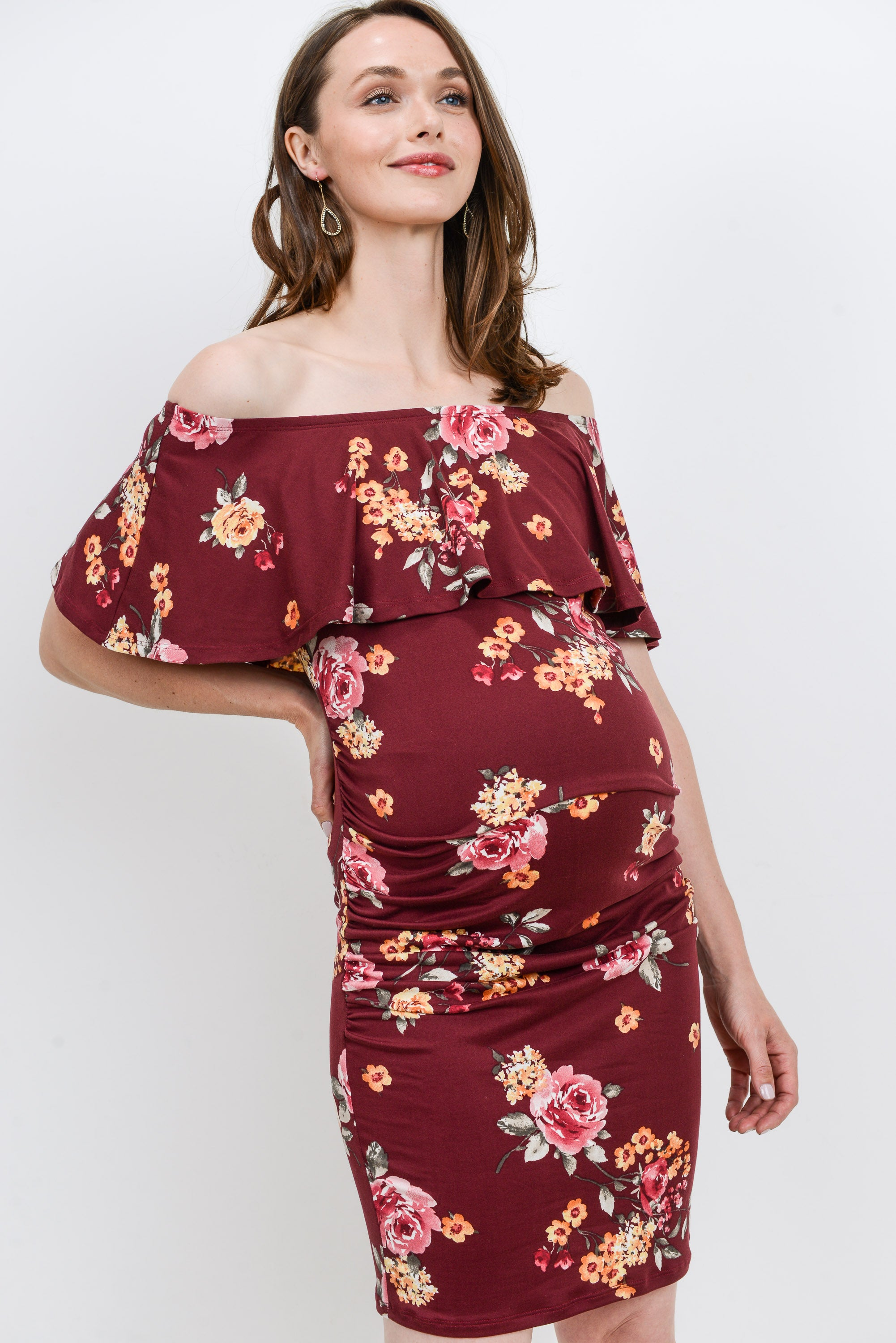 Burgundy Floral Off Shoulder Ruffle Maternity Dress