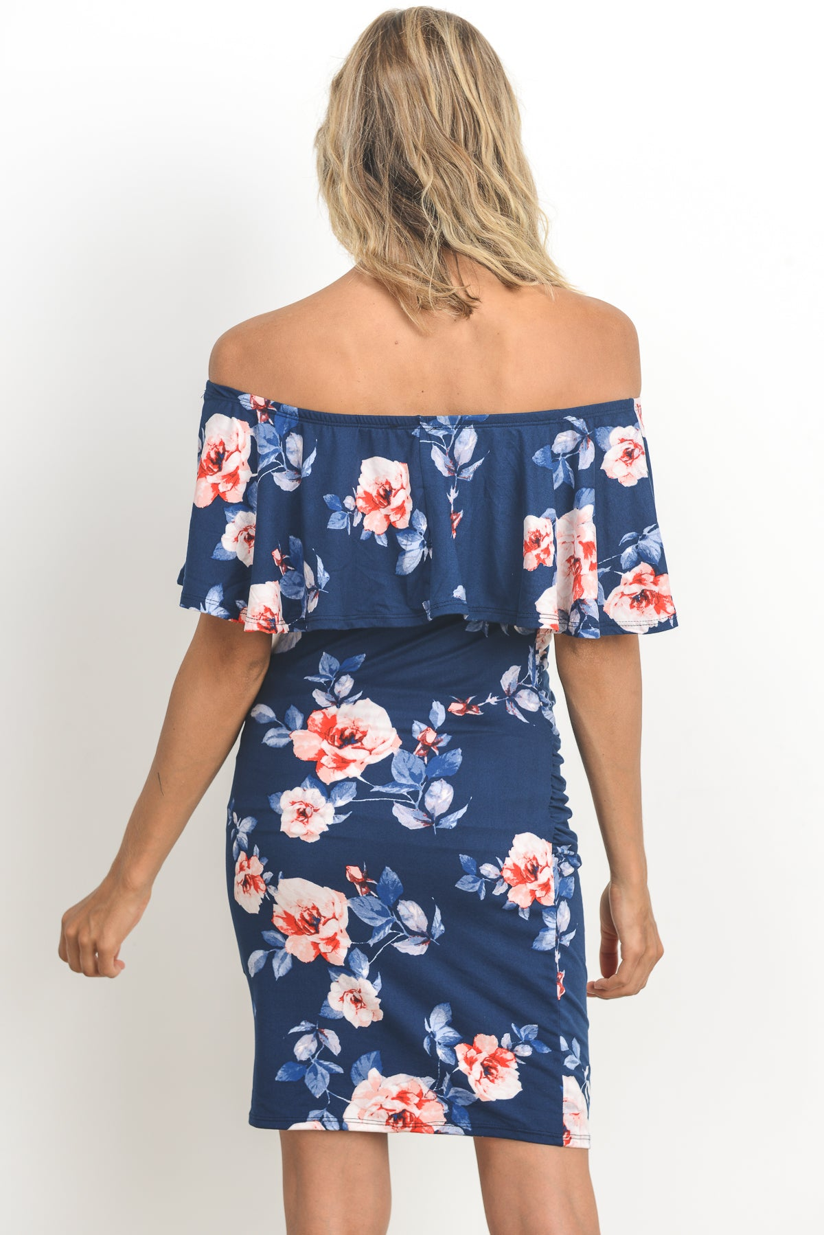 Fitted Floral Off Shoulder Ruffle Maternity Dress