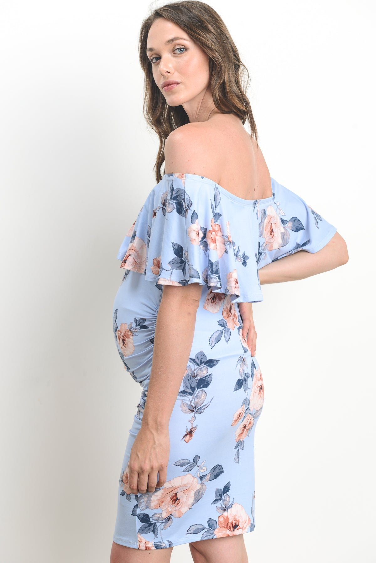 Off-Shoulder Floral Ruffled Maternity Dress