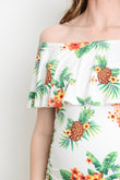 Pineapple Fitted Ruffle Off Shoulder Maternity Dress
