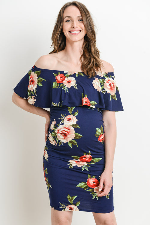 Off Shoulder Ruffle Maternity Dress