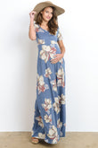 Casual Side Pocket Maternity Maxi Dress
