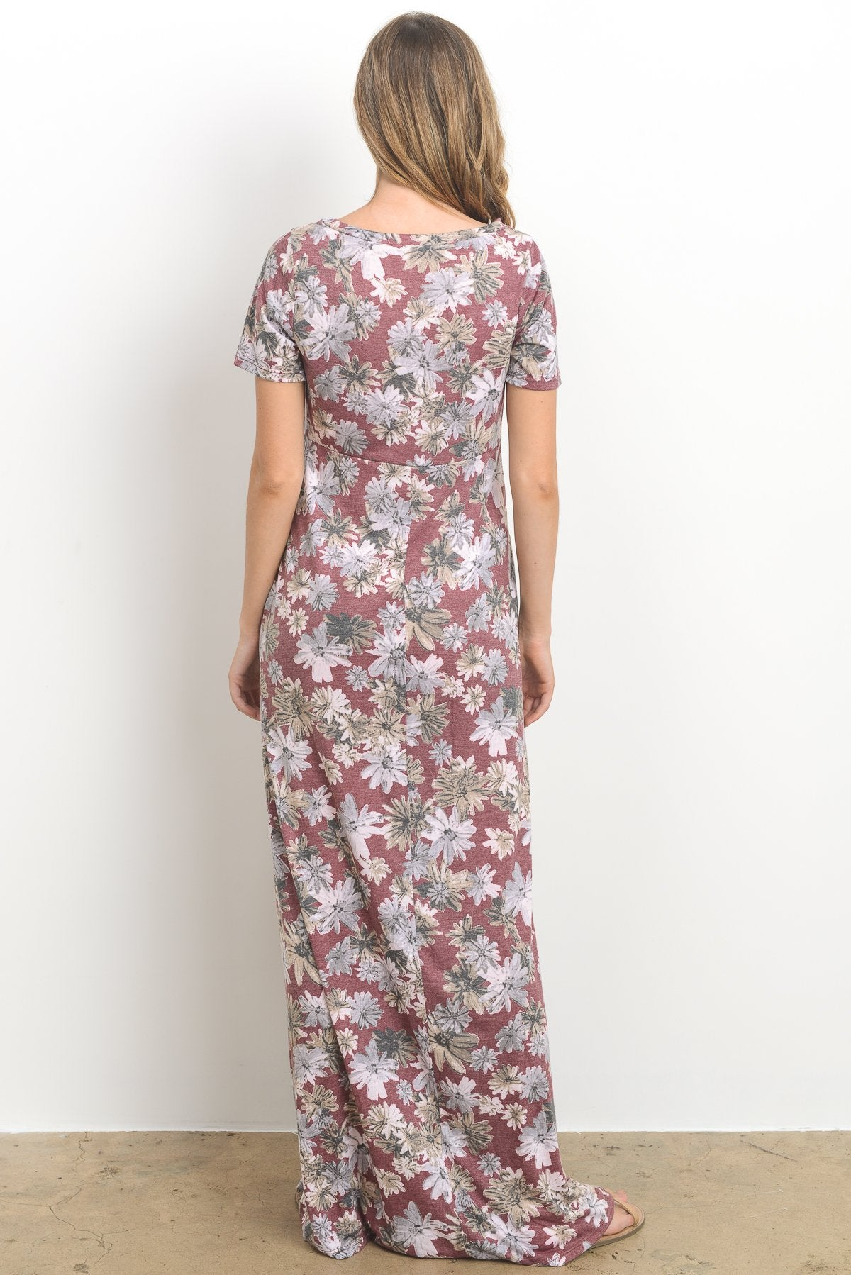 Casual Side Pocket Maternity Maxi Dress, Blooms