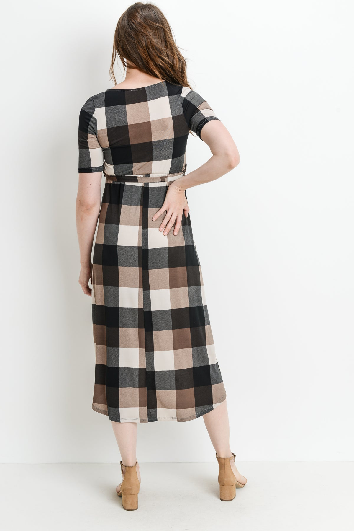 Plaid High Low Maternity & Nursing Dress