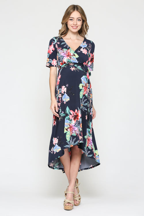 61ce8cb22261 Floral High Low Maternity & Nursing Dress