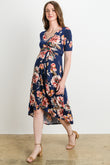 Floral High Low Faux Wrap Maternity & Nursing Dress