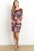 Floral Velvet Maternity Scoop Neck Dress