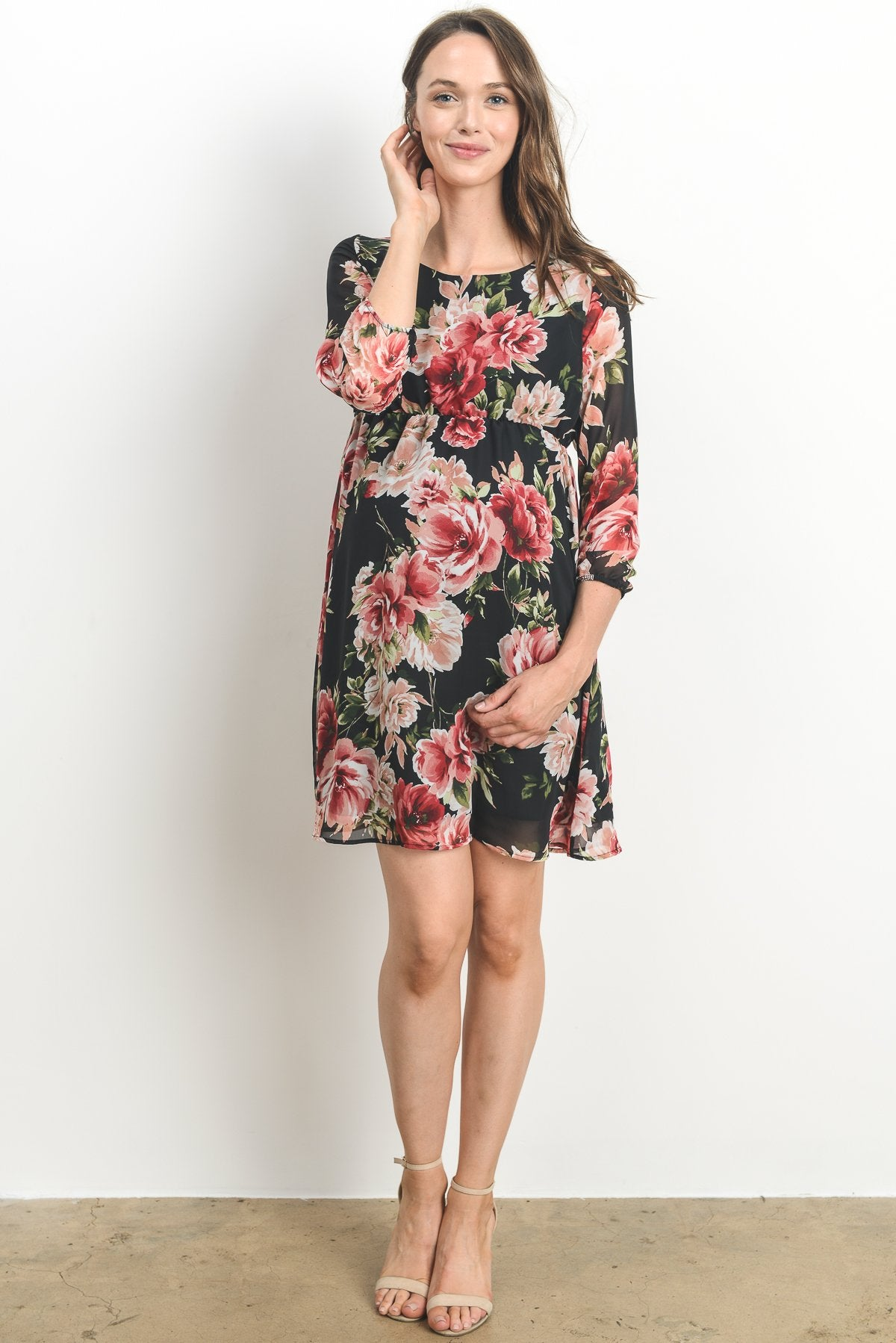 Floral Chiffon Maternity Dress