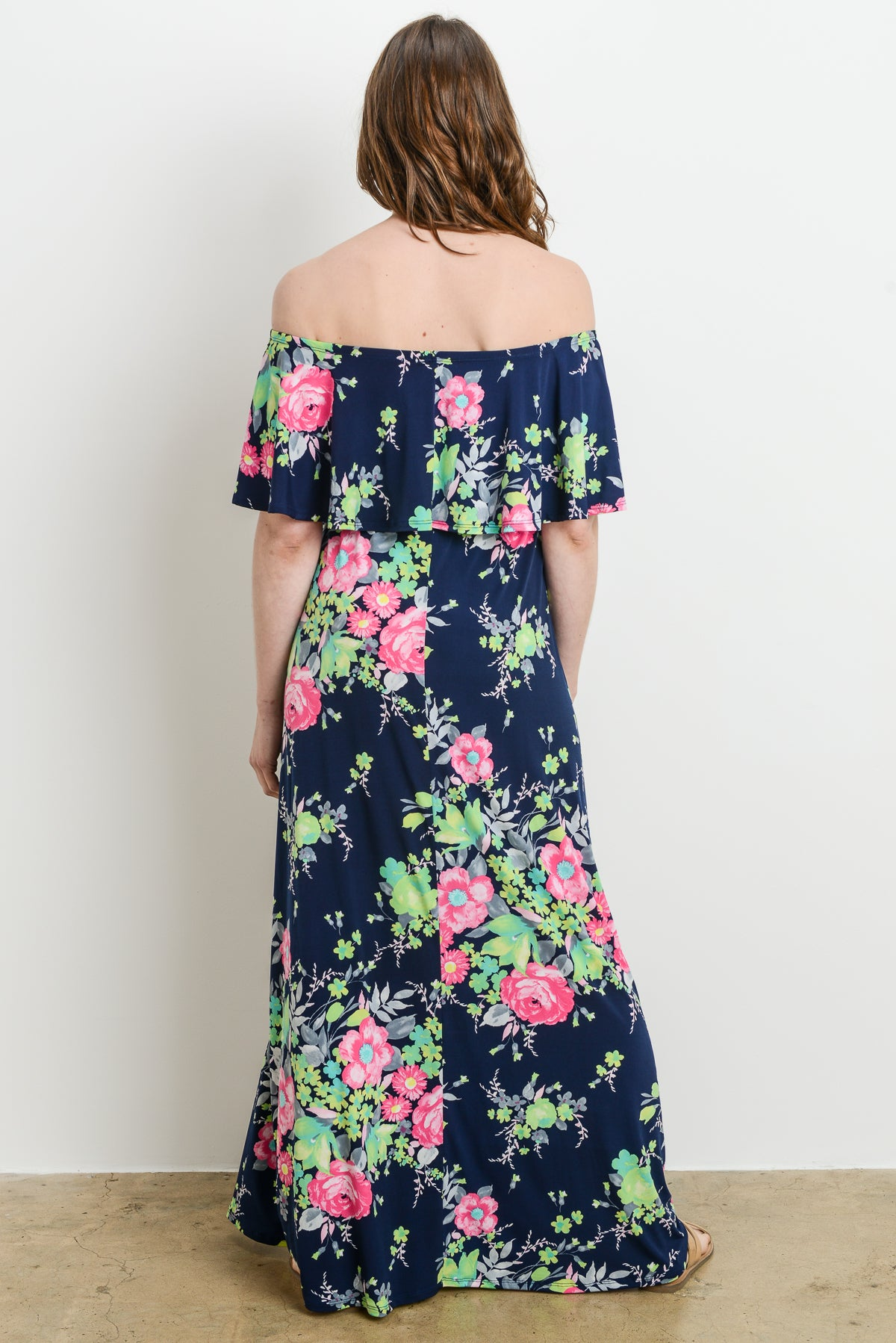 Ruffle Off Shoulder Floral Maternity Maxi Dress