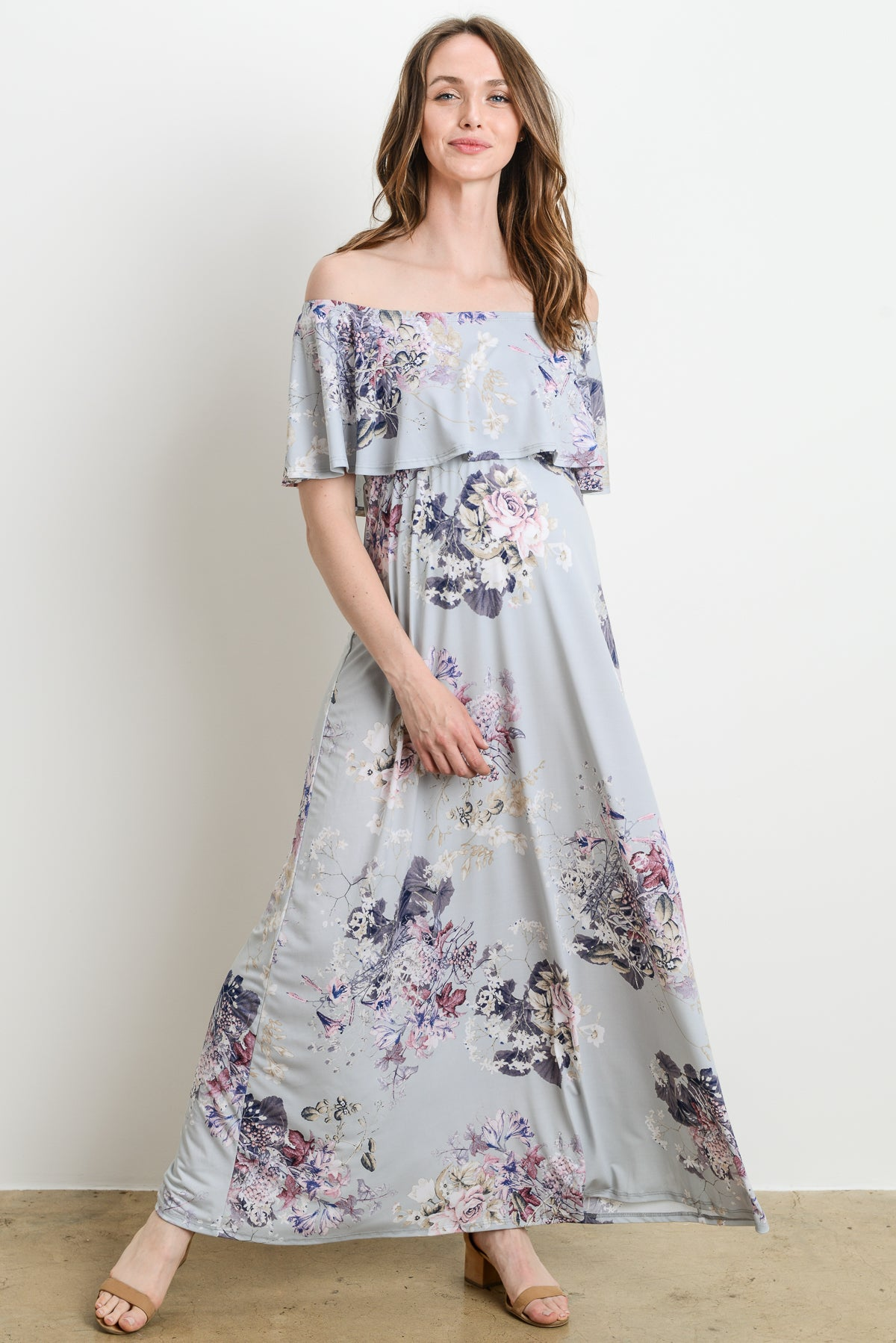 Ruffle Off Shoulder Maternity Maxi Dress