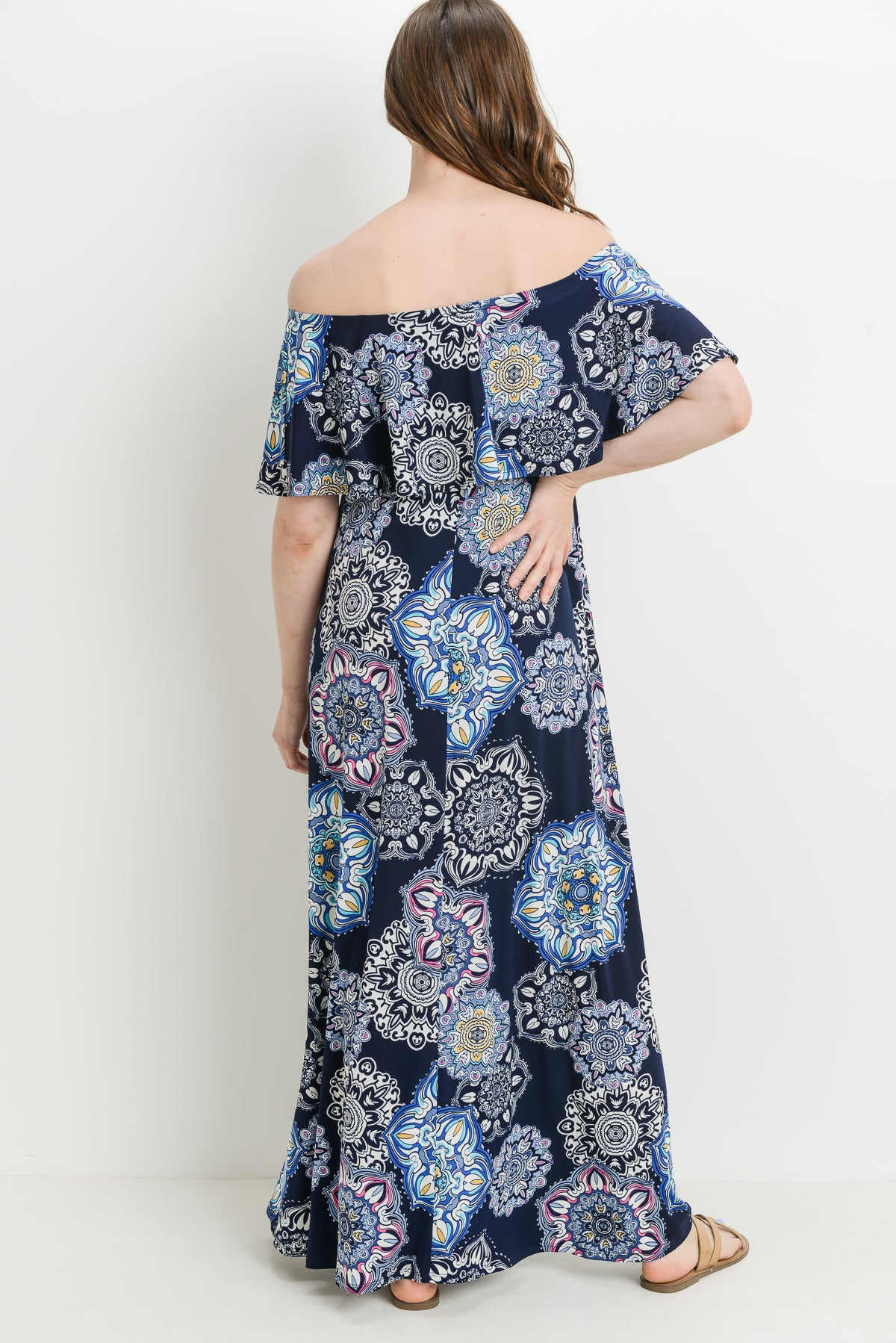 Medal Ruffle Off Shoulder Maternity Maxi Dress