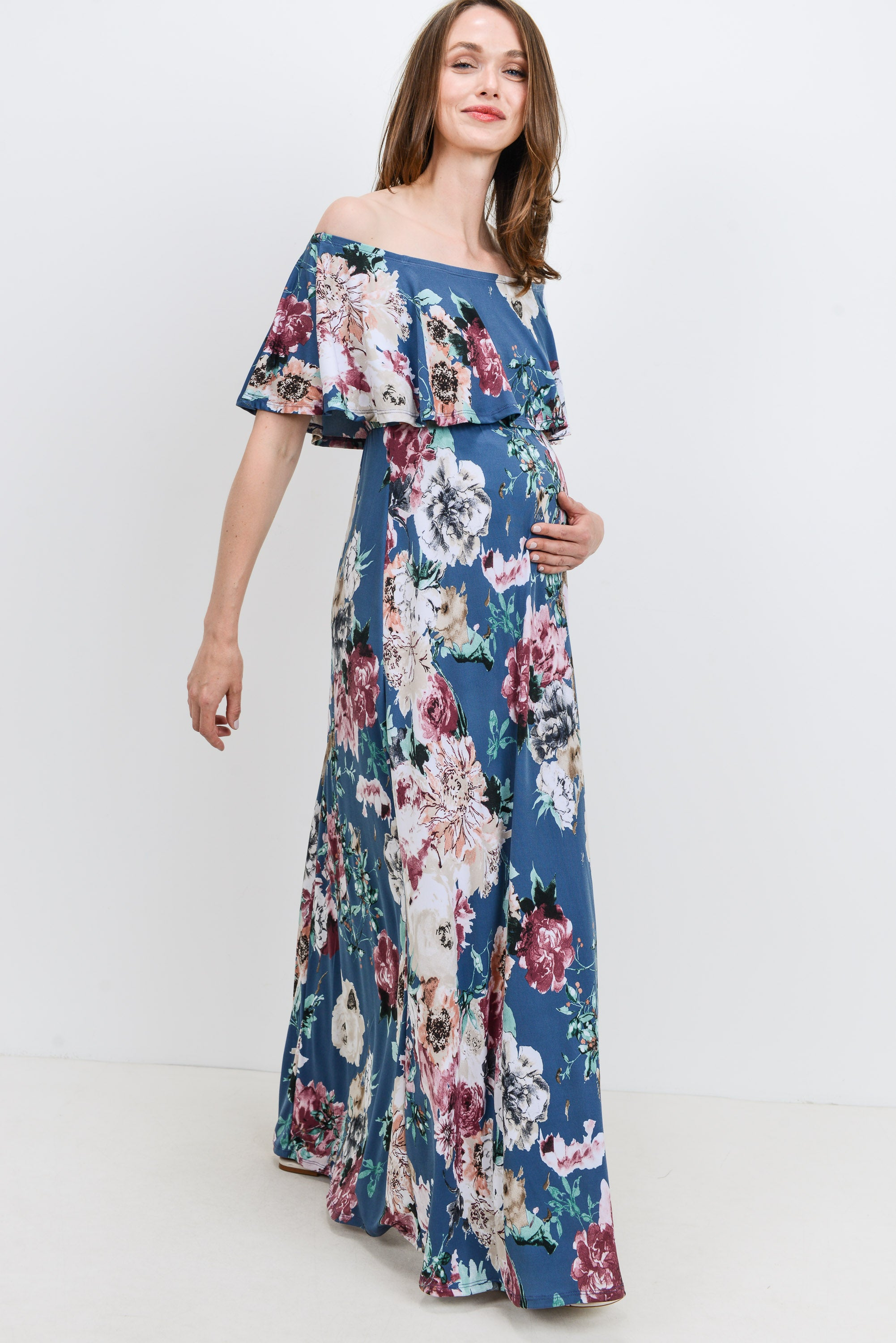 GREY Floral Off Shoulder Maternity Maxi Dress