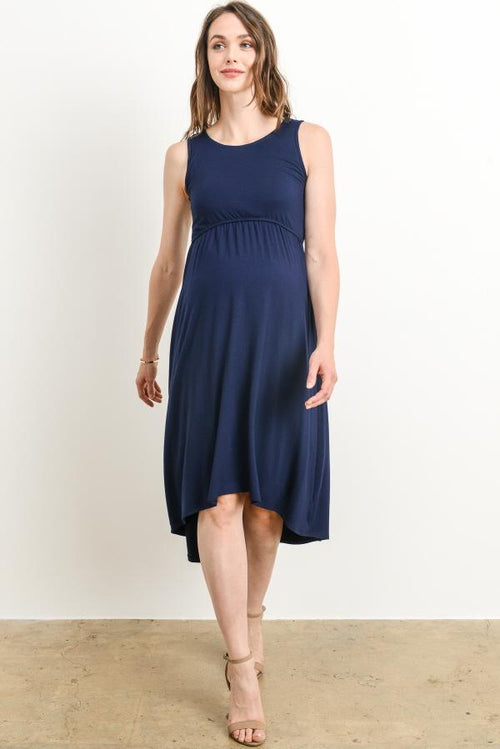 Sleeveless High Low Maternity & Nursing Dress