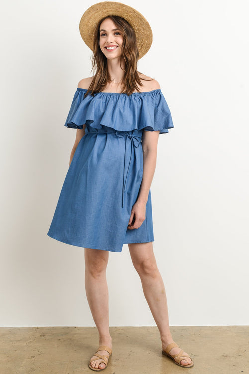 Ruffle Off Shoulder Loose Fitting Maternity Dress