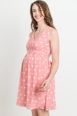 Polka Dot Sleeveless Maternity Dress