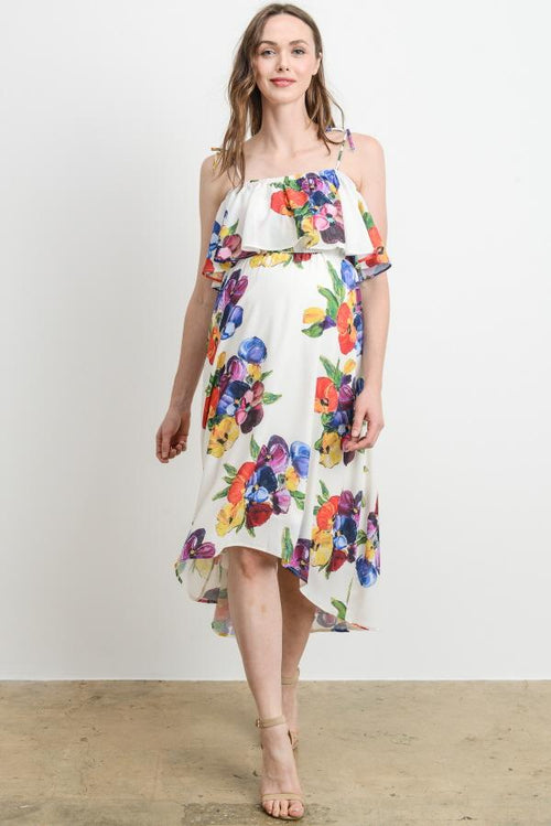 Floral Strap with Ruffle High Low Maternity Dress