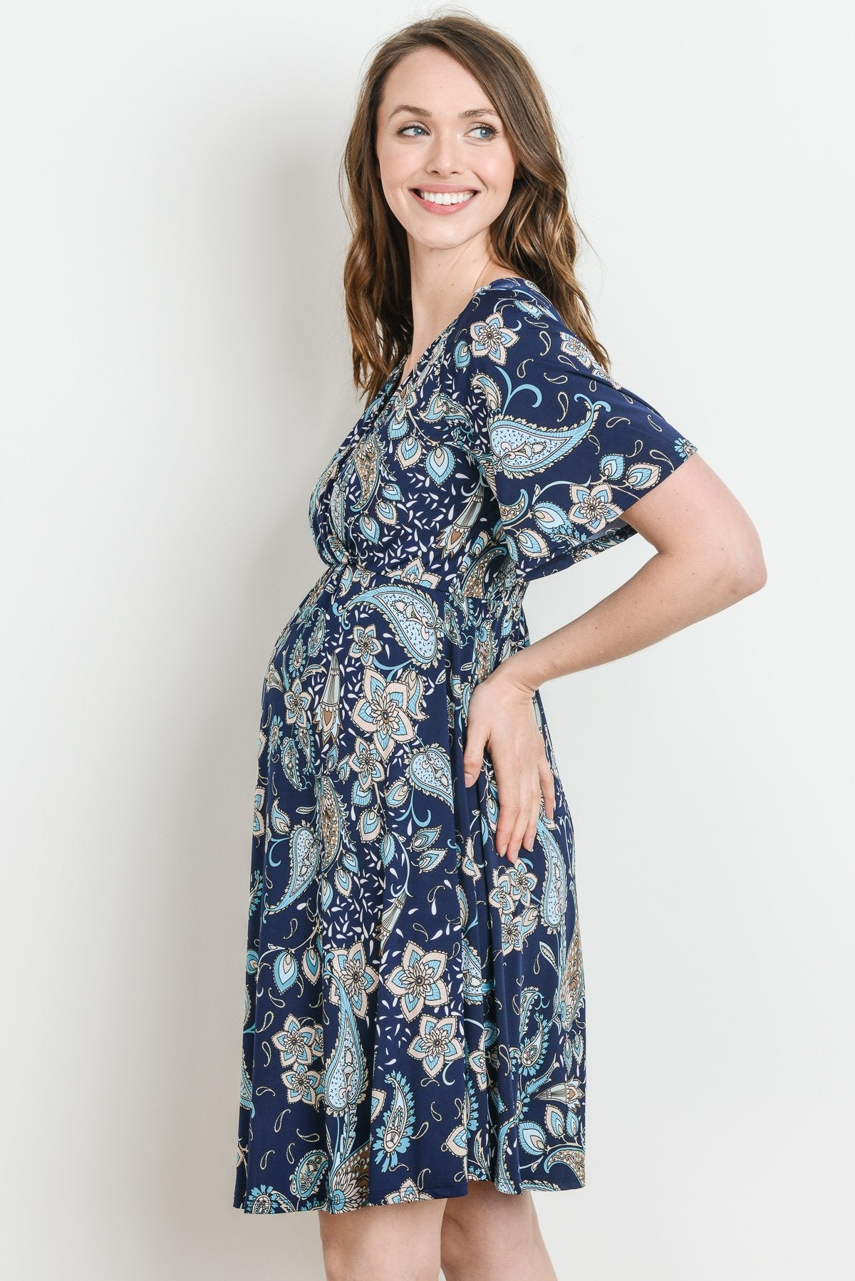 Paisely Surplice Elastic Waist Maternity & Nursing Dress
