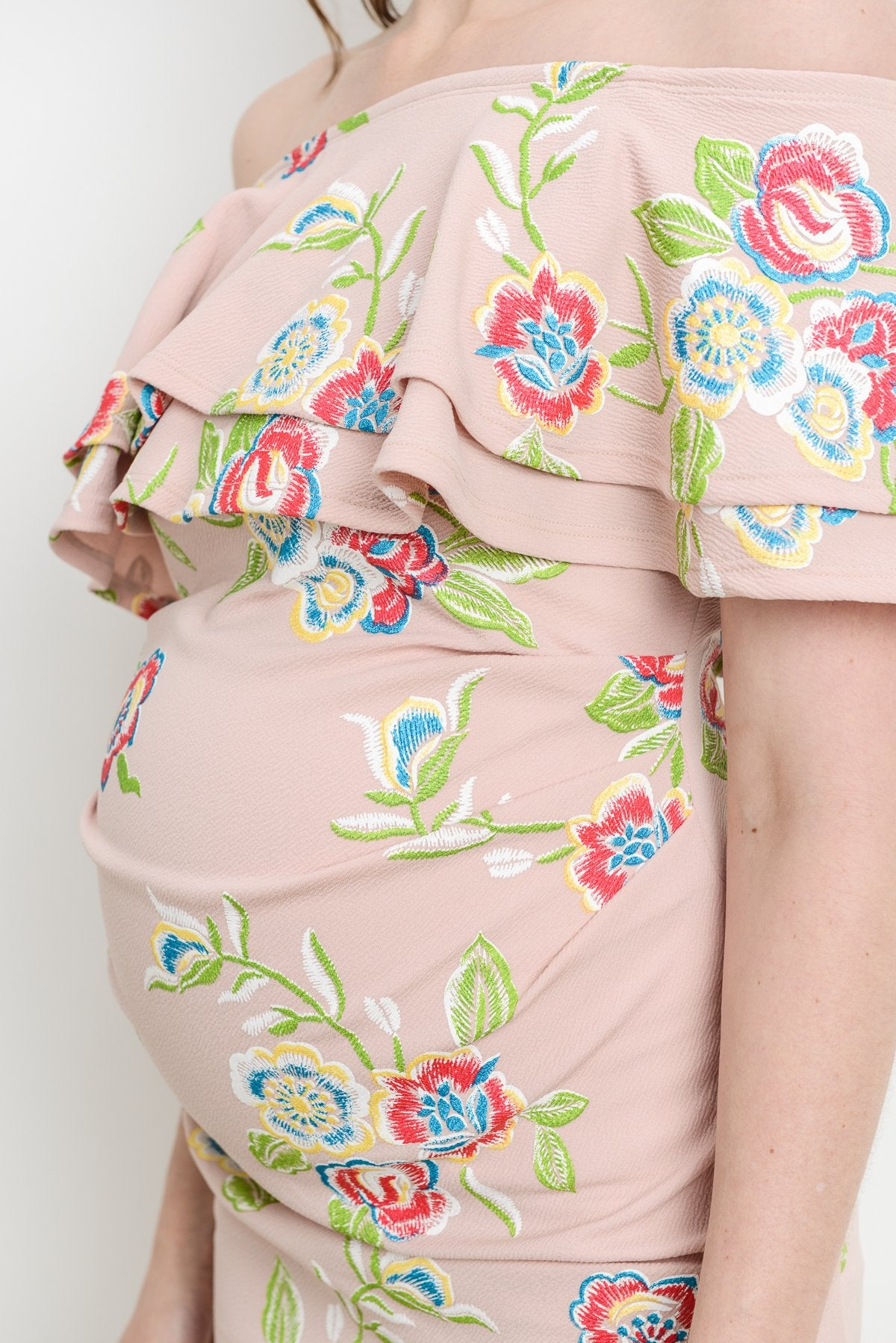 Double Ruffle Off Shoulder Maternity Dress, Bright Flowers