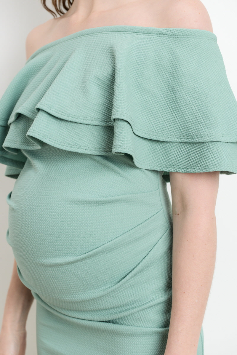 Solid Double Ruffle Off Shoulder Maternity Dress