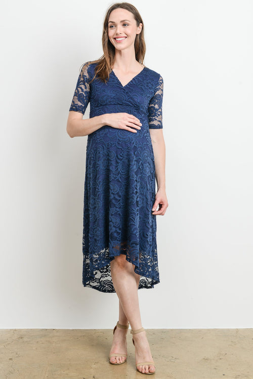 Lace Flower High-Low Maternity & Nursing Dress