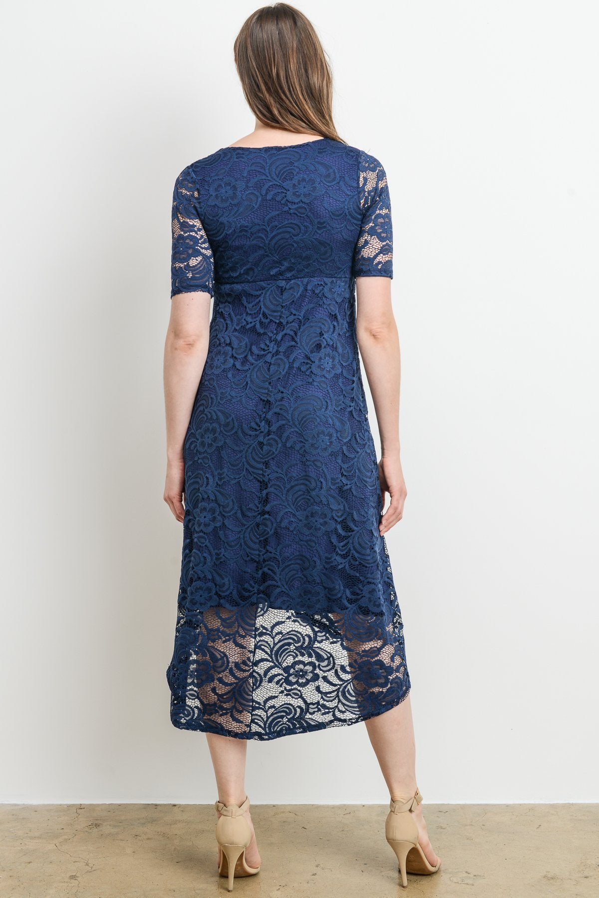 Lace Flower High Low Maternity & Nursing Dress