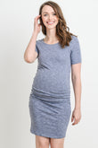 SOLID ROUND NECK WITH RUCHED SIDES KNEE LENGTH MATERNITY DRESS