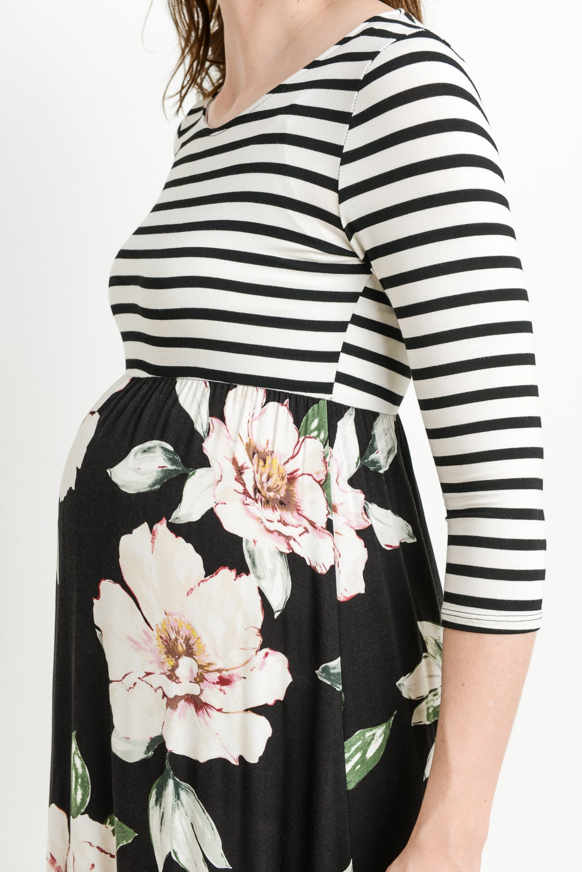 Stripe and Floral Combo Maxi Maternity Dress