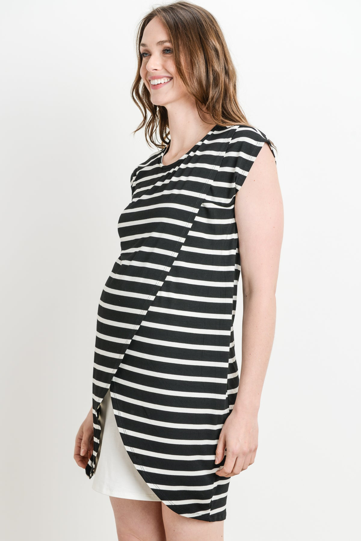 Striped Overlap Maternity & Nursing Dress