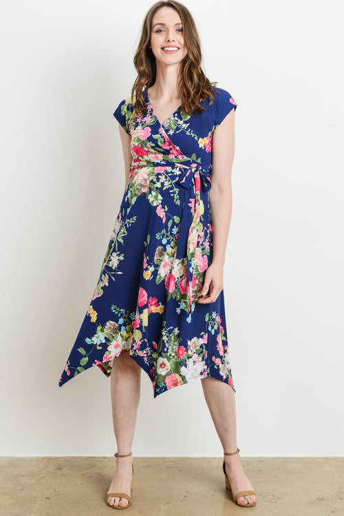 Floral Handkerchief-Hem Maternity & Nursing Dress