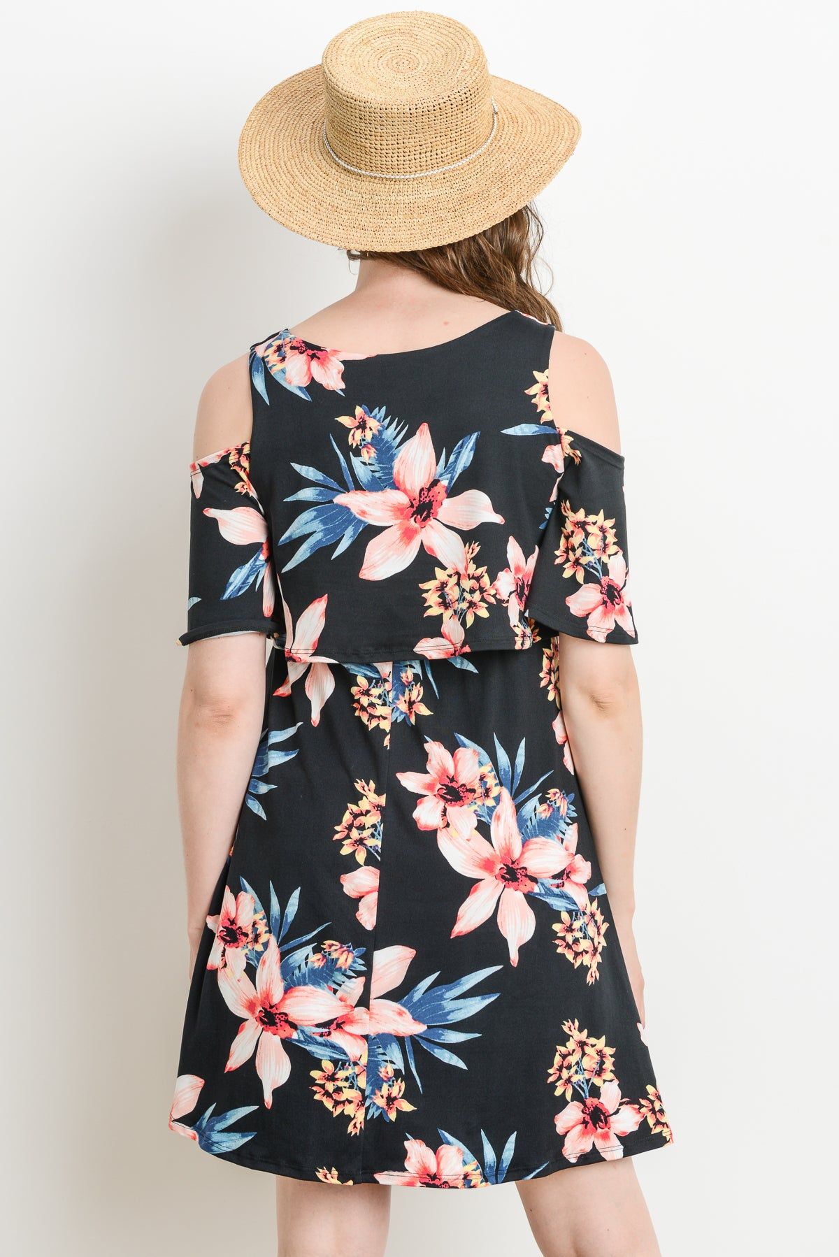 Flowy Cold Shoulder Maternity & Nursing Dress