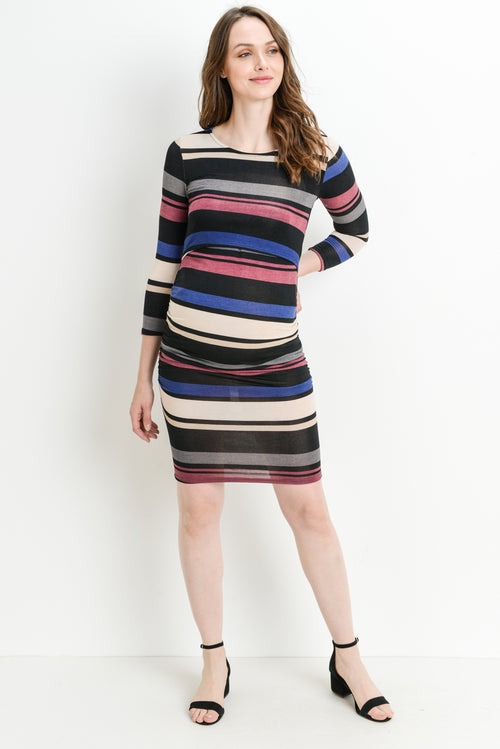 Multi Stripe Sweater Knit Maternity & Nursing Dress