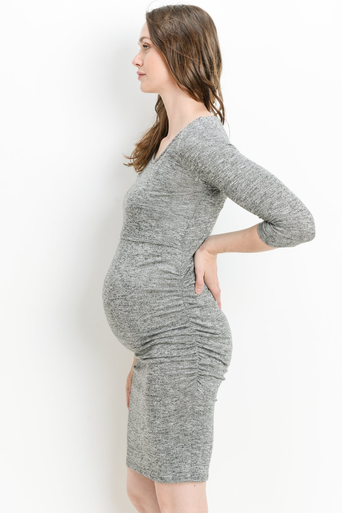 Sweater Knit 3/4 Sleeve Maternity & Nursing Dress