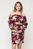 Floral Off The Shoulder Ruffle Maternity Dress With Ruched Sides