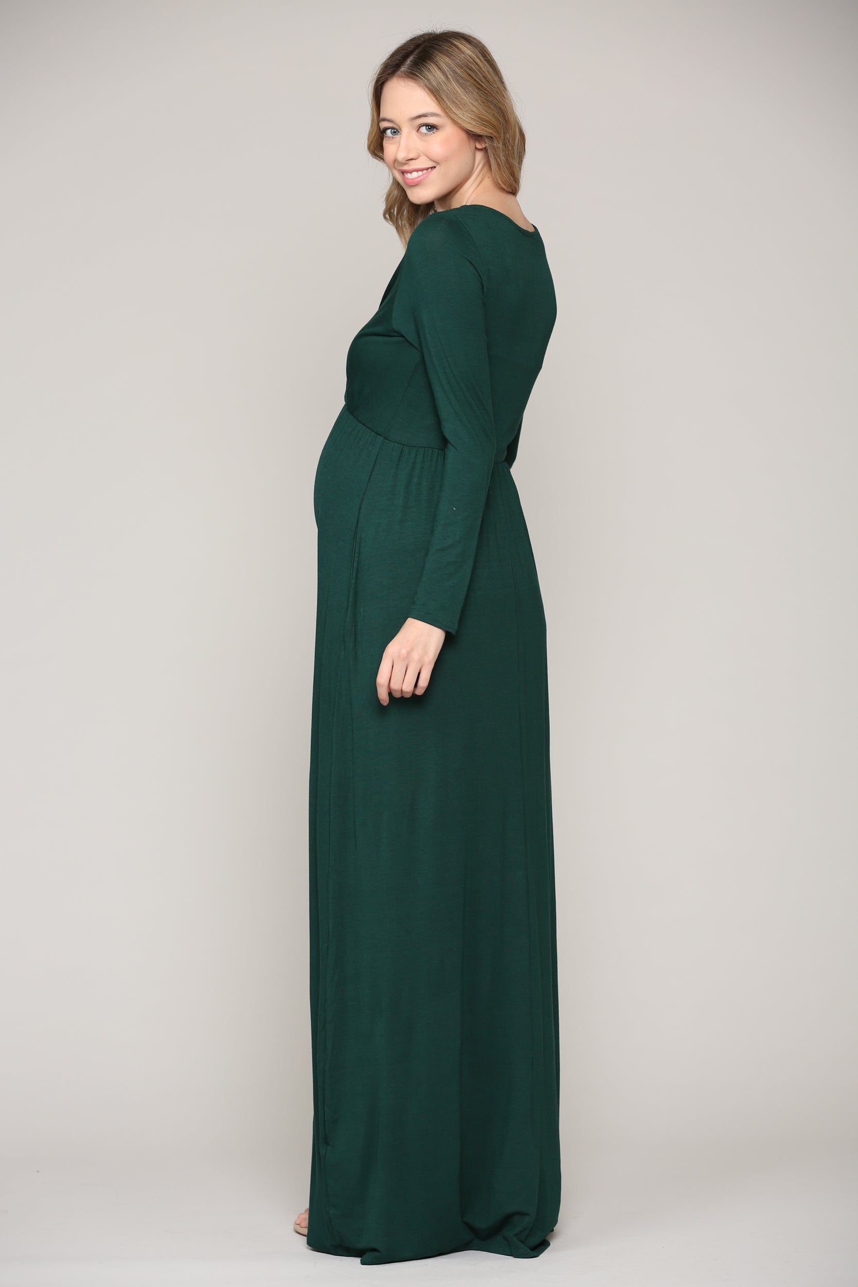 Long Sleeve Maternity/Nursing Maxi Dress