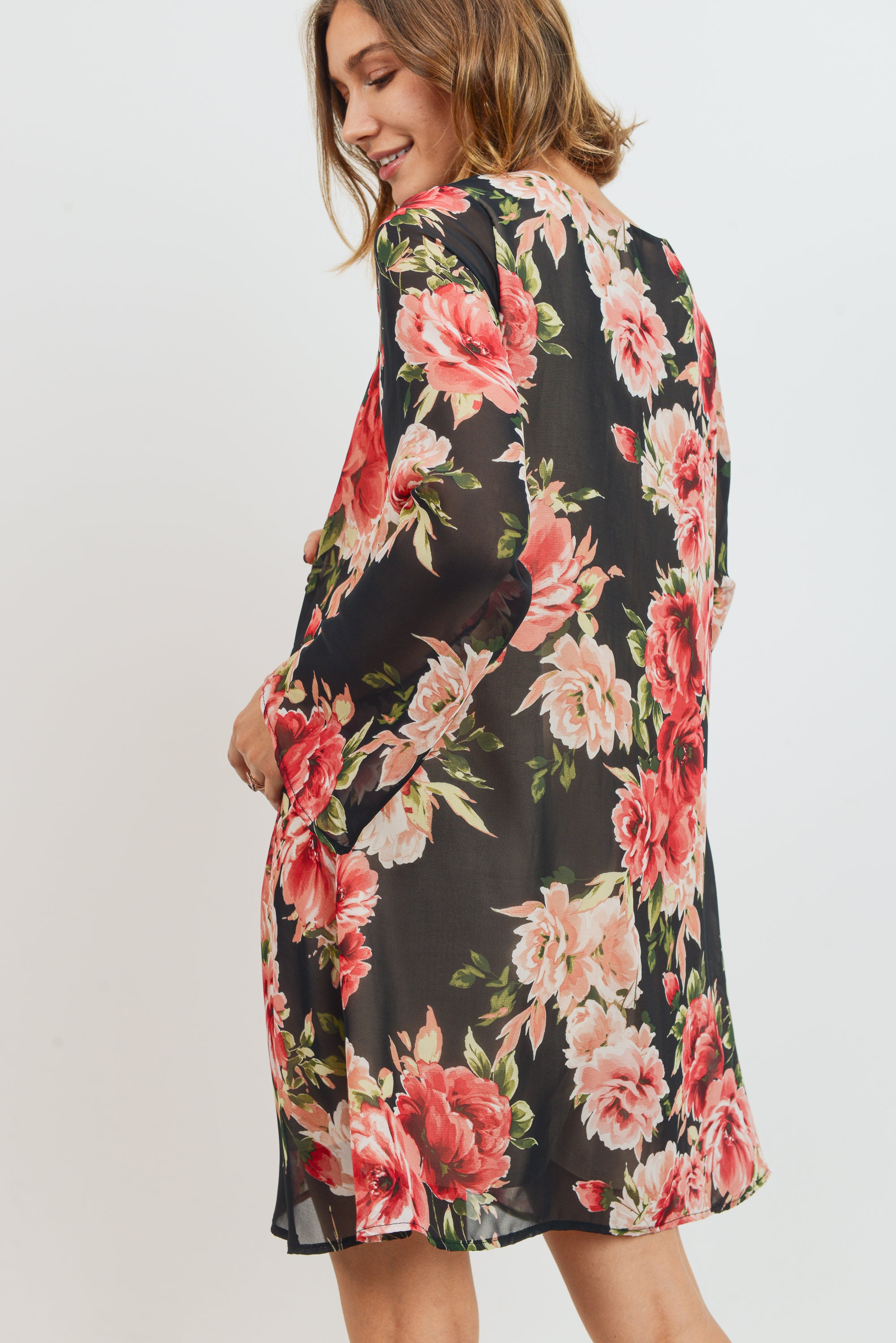 Floral V-Neck Bell Sleeve Chiffon Maternity Dress
