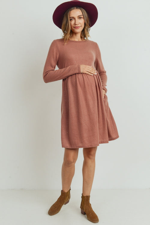 LUREX LONG SLEEVE SIDE POCKET MATERNITY DRESS