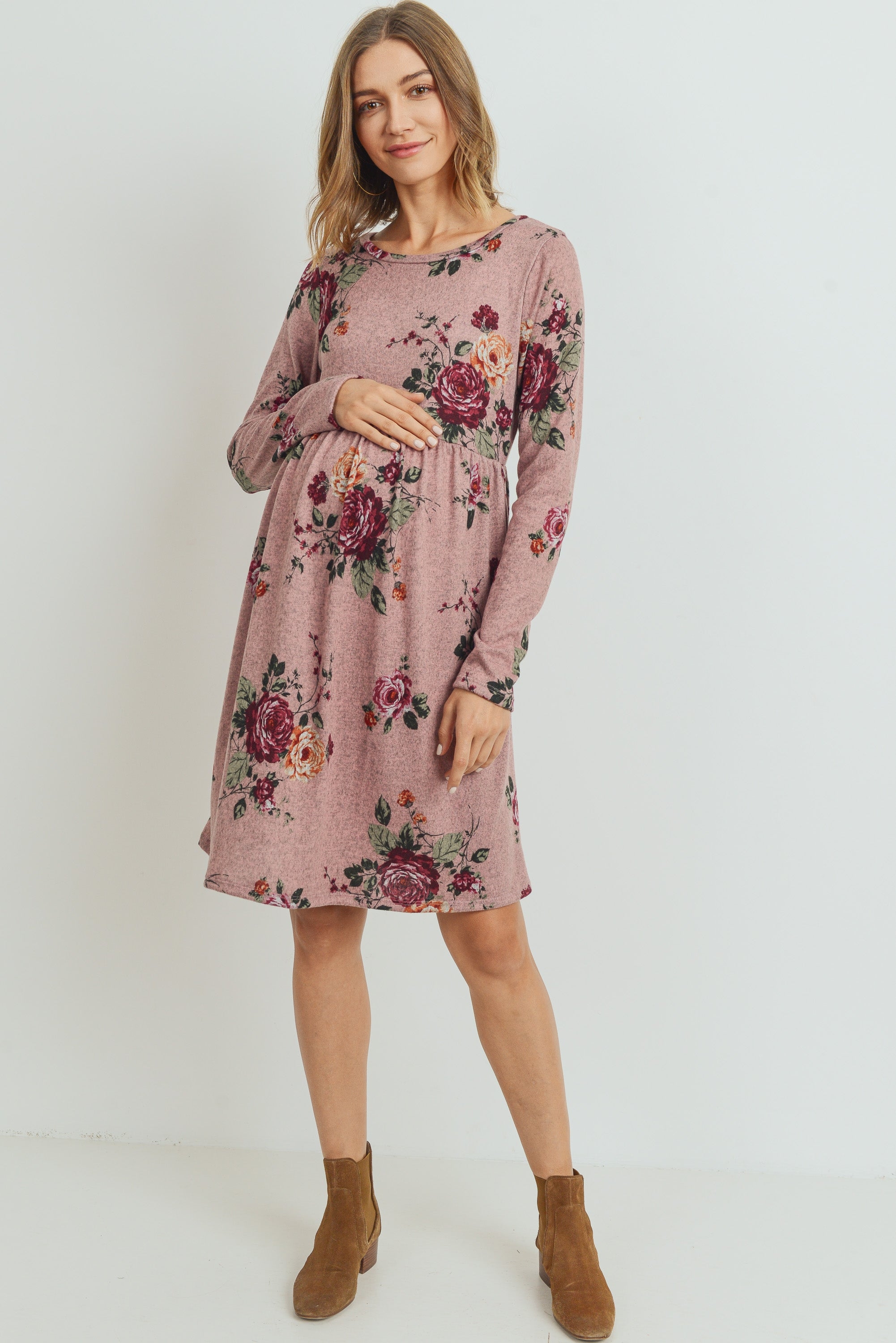 LONG SLEEVE SIDE POCKET MATERNITY DRESS