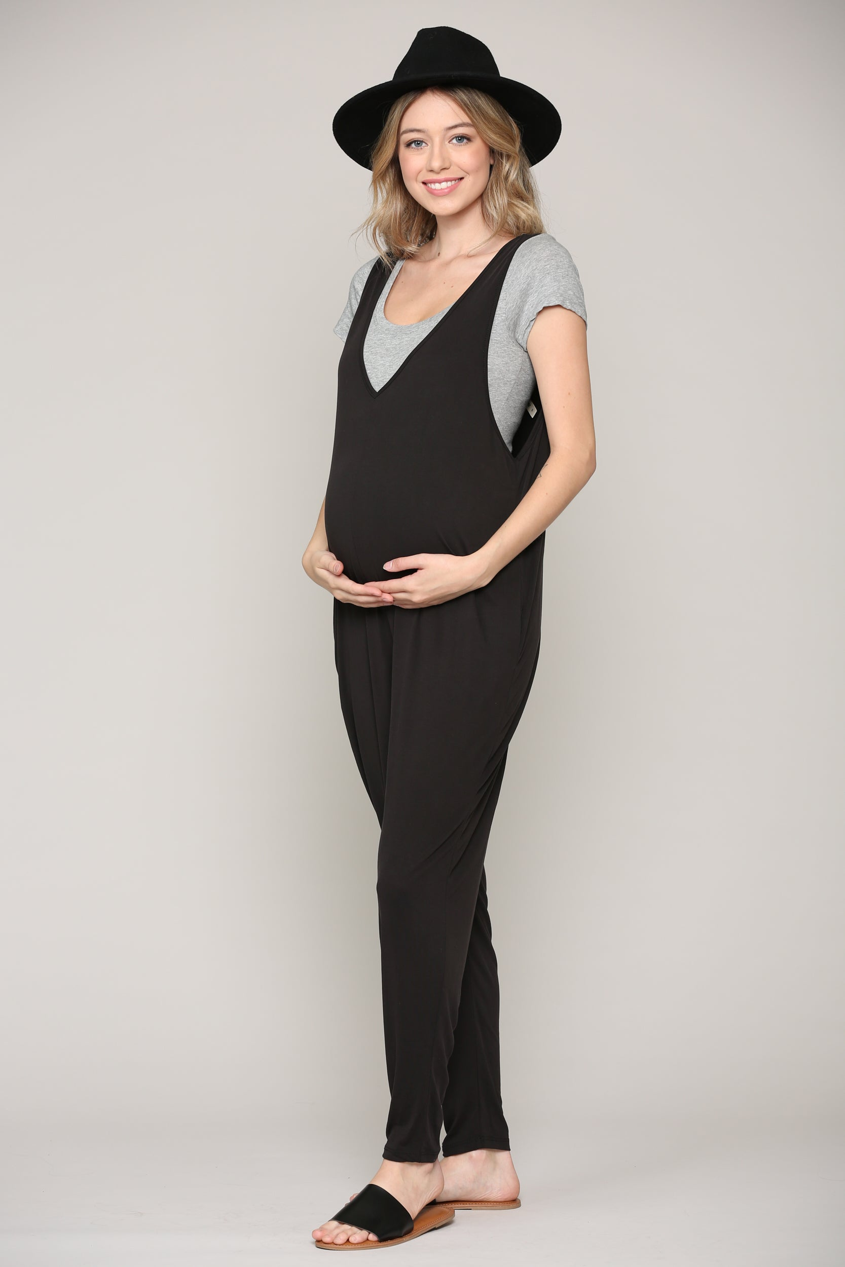 Deep - V Sleeveless Maternity Jumpsuit