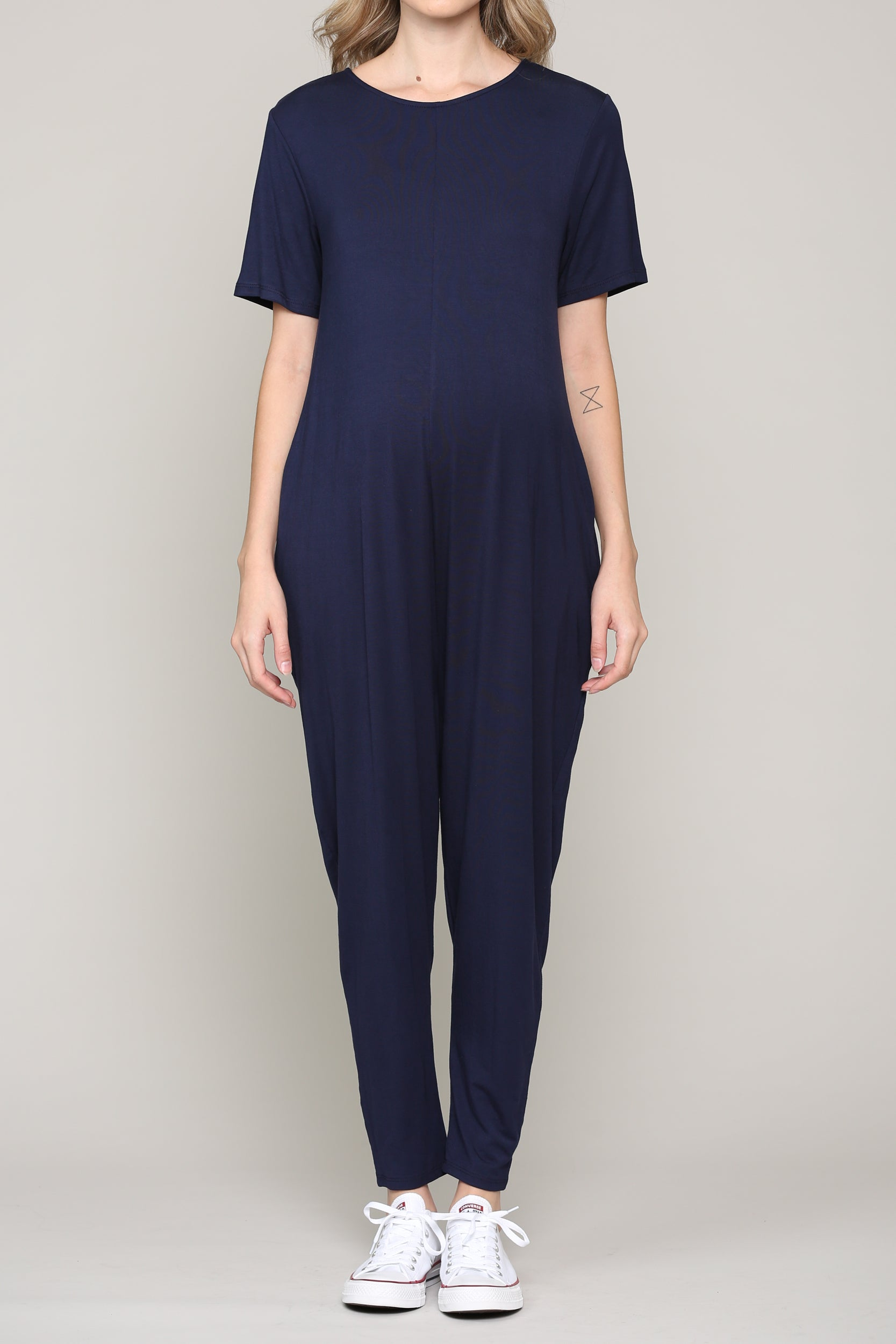 Round-Neck Short Sleeve Maternity Jumpsuit