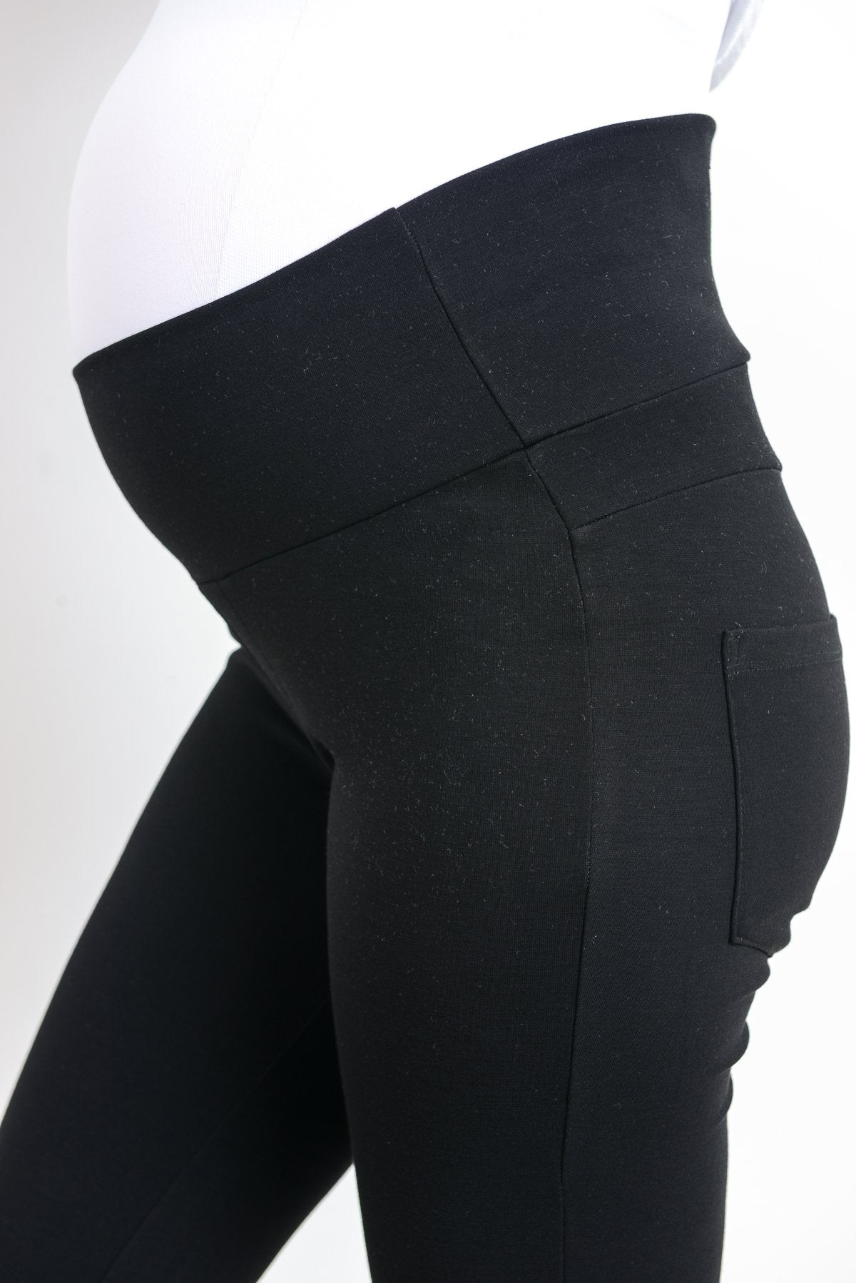 Ponte Fold Over Belly Maternity Leggings