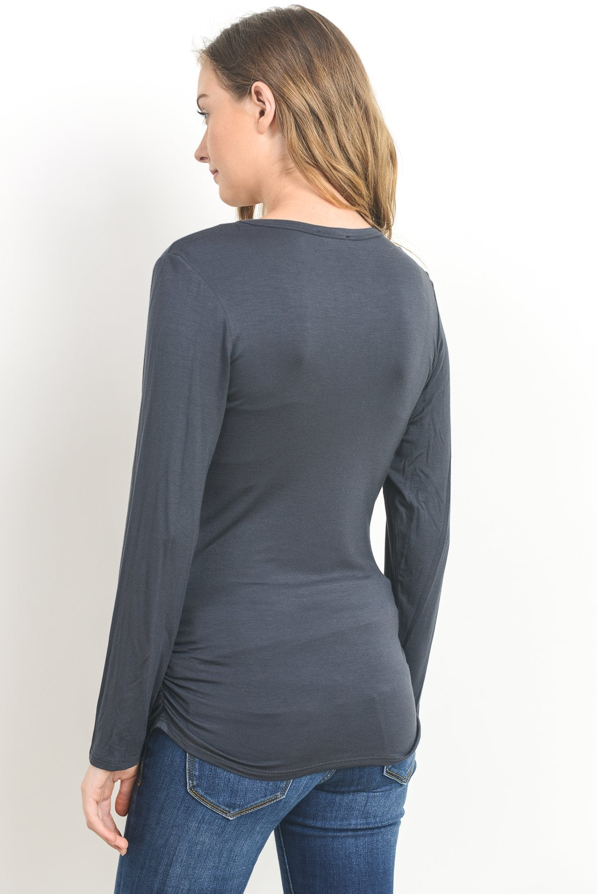 Ruched Long Sleeve Maternity & Nursing Top