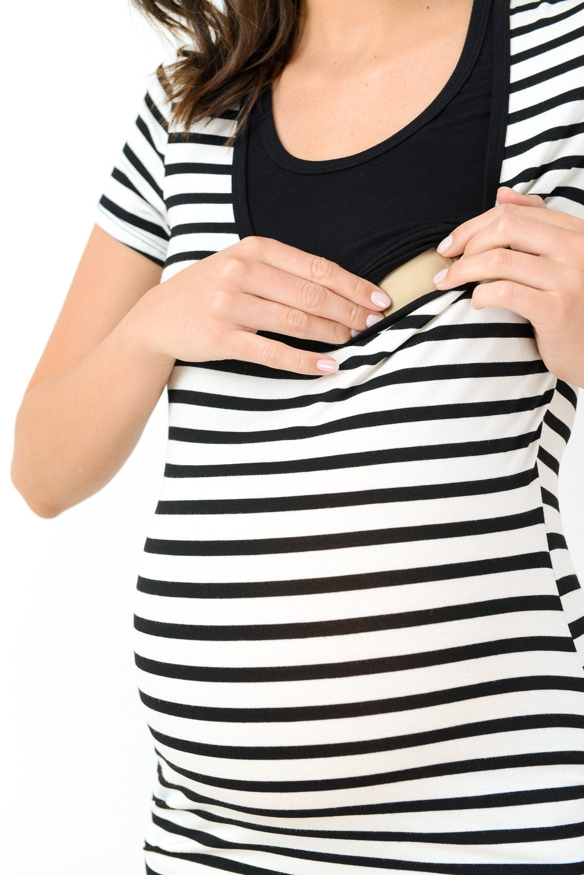 Stripe Maternity/Nursing Scoop Neck Top