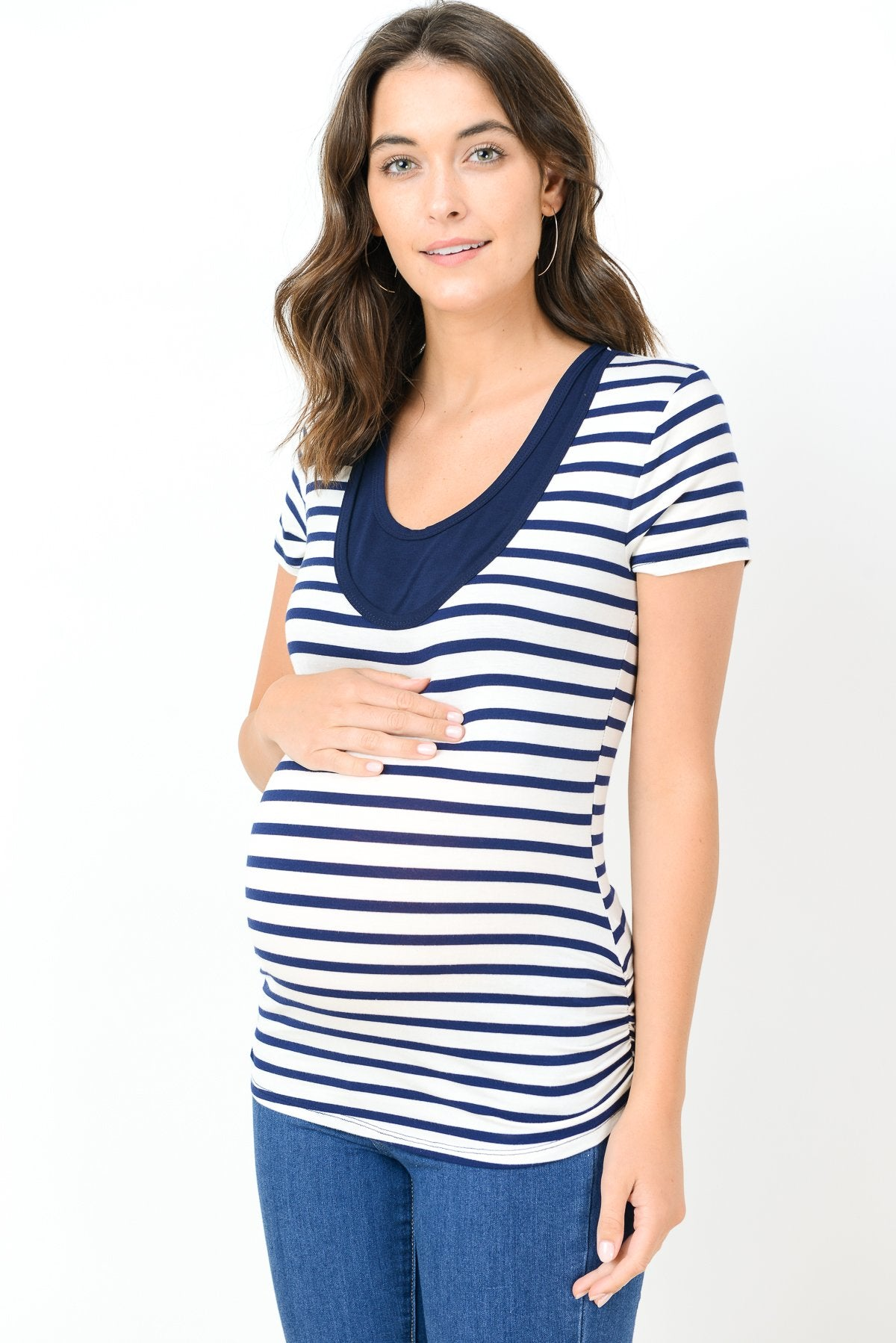 Striped Scoop Neck Maternity & Nursing Tee