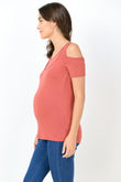Casual Cold Shoulder Maternity & Nursing Tee